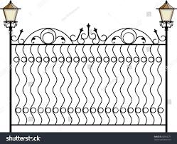 Wrought Iron Gate Door Fence Window Stock Vector Royalty Free 82854271