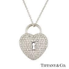 heart lock pendant in platinum 0 76ct