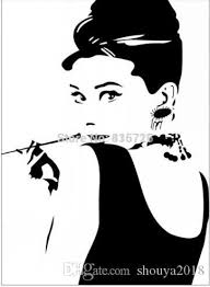 Large Size Hot Removable Bedroom Wall Stickers Audrey Hepburn With Pipe Sketch Home Decor Sticker Modern Living Room Accessori Art Wall Decals Art Wall Sticker From Shouya2018 20 95 Dhgate Com