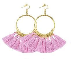 fringe earrings pink tassel earrings