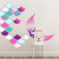Mermaid Scales And Mermaid Tail Wall Decals Pink Turquoise Purple Mermaid Wall Decals Mermaid Wall Decor Mermaid Room Decor