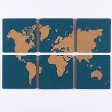 Corkboard World Map Wall Art Set Of 6 Travel Candi