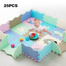 Eva Foam Play Mat With Fence Baby Puzzle Jigsaw Floor Developing Mats Thicken Carpet Pad Toys For Kids Educational Activity Pad Play Mats Aliexpress