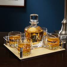 whiskey decanter tray with glasses 6 pc set