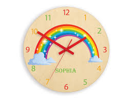 Children Wall Clock Rainbow With Personalizen Name Wood Clock Large Wall Clock Kids Clock Kids Room Wall Art Wall Decal