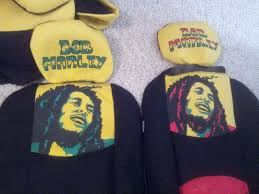 hand painted bob marley car seat covers