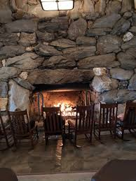 large natural stone fireplace in the