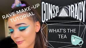 blue glitter rave makeup tutorial