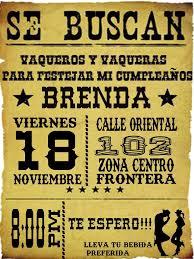 Invitacion Vaquera Cumpleanos Vaquero Fiesta Infantil Vaquera