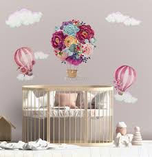 Colorful Floral Bouqet Hot Air Balloon And Pink Clouds Wall Decal Sticker Wall Decals Wallmur