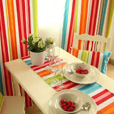 Rainbow Colorful Cotton Striped Curtains For Living Room Or Bedroom