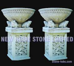 white marble carved large planters for