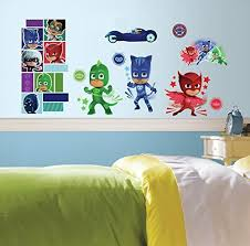 Pj Masks Wall Decals Disney Superheroes Room Decor Stickers Catboy Owlet Gecko Home Furniture Diy Party Decoration