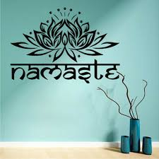 namaste words lotus flower wall art sticker decal white white