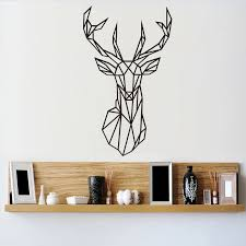 Origami Geometric Deer Head Wall Stickers Home Decor Vinyl Wall Decal Creative Animal Removable Mural For Living Room Vinyl Wall Decals Wall Stickerdecorative Vinyl Aliexpress