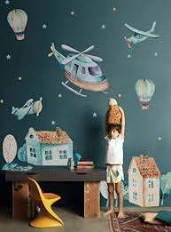 Amazon Com Murwall Boys Wall Decal Watercolor Aircraft Wall Decals For Kids Vintage Hot Air Balloon Wall Sticker Old Town Removable Peel N Stick Nursery Room Decor Kidsroom Handmade