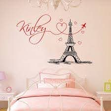 Girl Name Wall Decal Eiffel Tower Vinyl Stickers Mural Paris Etsy In 2020 Paris Themed Bedroom Name Wall Decals Paris Room Decor