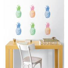 Wall Pops 24 In X 17 5 In Multi Color Pop Pineapple Wall Decal Dwpk2171 The Home Depot