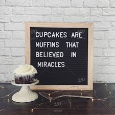 cupcake quote on a letter board a chocolate cupcake stock