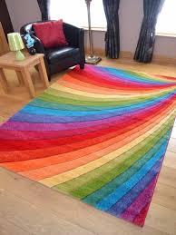 Bright Modern Vibrant Coloured Thick Luxurious Soft Pile Floor Rugs Carpets Mats Rainbow Bedroom Rainbow Room Rainbow House