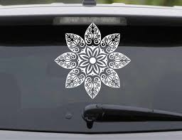 Mandala Flower Decal For Car Doily Floral Hippie Seed Of Life Pretty Fractal Psychedelic Sunflower Vinyl Sticker Waterproof Mt30 Wall Stickers Aliexpress