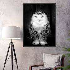 Black And White Snowy Owl Wall Art Nichecanvas