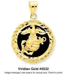 marine corps pendant in 14k yellow gold