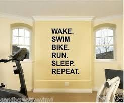 Wake Swim Bike Run Sleep Repeat Triathlon Motivational Vinyl Wall Decal Quote Ebay