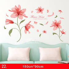 Flower Wall Stickers Living Room Pvc Bedroom Home Deco Large