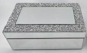 silver sparkles band mirror jewelry box