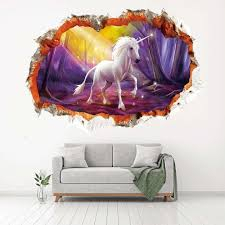 3d Unicorn Wall Stickers For Kids Rooms Living Room Wall Decals Girls Bedroom Decorative Stickers Mural Decoracion Hogar Wall Murals Stickers Wall Peels From Yikacam 10 06 Dhgate Com