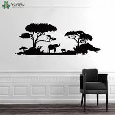Yoyoyu Wall Decal Dense Forest And Animals Wall Sticker Elephant Safari Africa Tree Fun Mural For Nursery Kids Bedroom Qq154 Wall Stickers Aliexpress