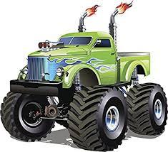 Amazon Com Large Fast Manly Violent Dangerous Green Monster Truck With Blue Flames Vinyl Sticker All Sizes Automotive