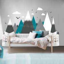 Gray Cream Mountains Wall Sticker Home Decor For Kids Room Nursery Eagles Pine Trees Clouds Beautiful Art Murals Decal Jw373 Stickers Home Decor Wall Stickers Home Decordecoration For Kids Room Aliexpress