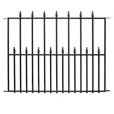 Vigoro Empire 30 In X 36 In Black Steel Fence Panel 4 Pack 860374mc The Home Depot
