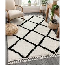 cabana geometric black white area rug