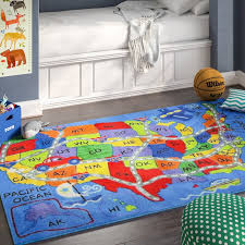 Zoomie Kids Corina Travel Map Area Rug Reviews Wayfair