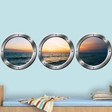 Vwaq Cruise Window Decal Ocean View Window Cling Porthole Vinyl Sticker Spw25 Silver 24 Diameter Walmart Com Walmart Com