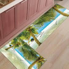 2pcs set coconut palm tree sandy beach