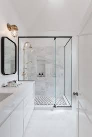 modern bathroom features a black framed