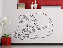 Amazon Com Dumbo Wall Vinyl Decal Dumbo Wall Sign Disney Cartoon Flying Elephant Vinyl Sticker Home Nursery Interior Kids Baby Wall Art Decor Mural Removable Vinyl Sticker 21me Arts Crafts Sewing