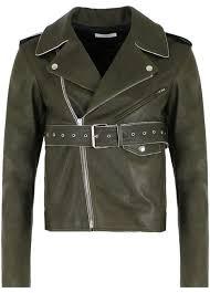 céline olive geen belted leather jacket