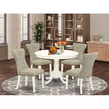 Shop Hlga5 Lwh 35 5 Pc Small Dining Table Set 4 Parsons Dining Chairs And Round Kitchen Table Button Tufted Linen White Finish Overstock 32086049