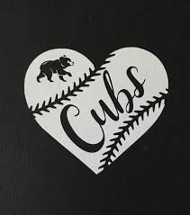 Chicago Cubs Baseball Heart Vinyl Car Decal Bumper Sticker Etsy