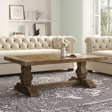 summit solid wood trestle coffee table