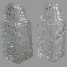 czech cut glass salt pepper shakers