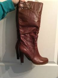 guess brown boots leather with heel