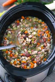 slow cooker 15 bean soup with ham and