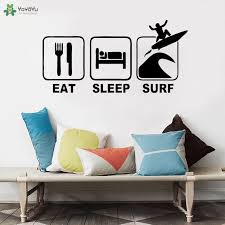 Eat Sleep Surf Wall Decal Surfing Sports Decals Surfboard Sticker Decor For Kids Bedroom Nyrsery Room Wallpaper Vinyl Art Qq400 Wall Stickers Aliexpress