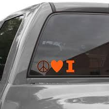Illinois Fighting Illini Peace Love Car Decal